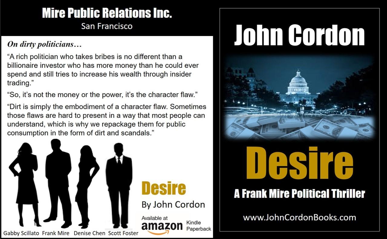 Desire By John Cordon A Frank Mire Political Thriller on dirty politicians