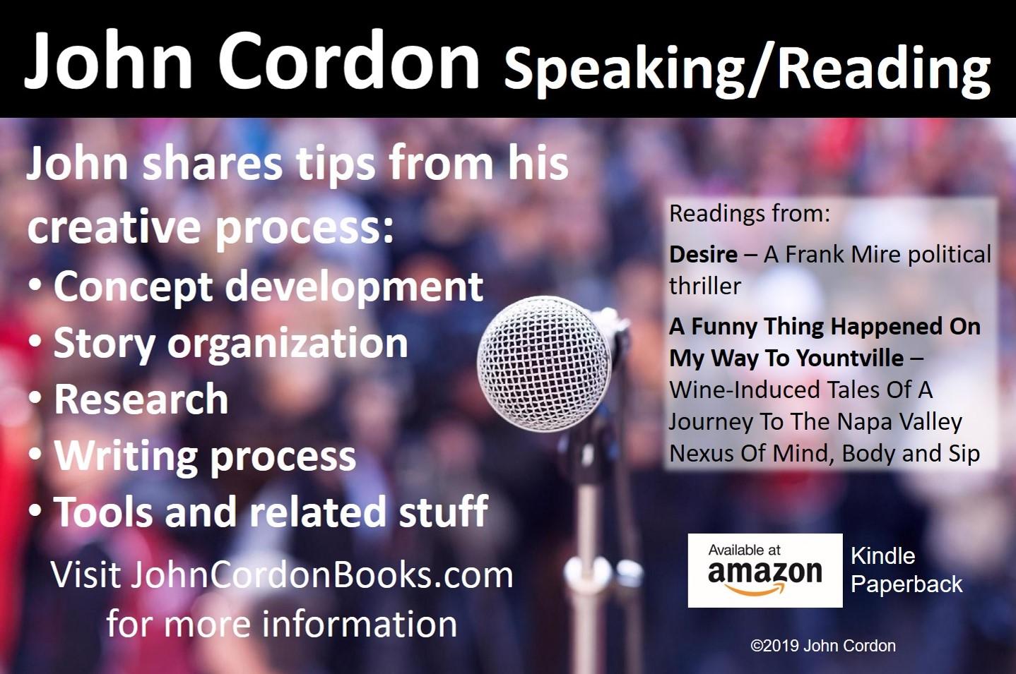 John Cordon Speaking Reading